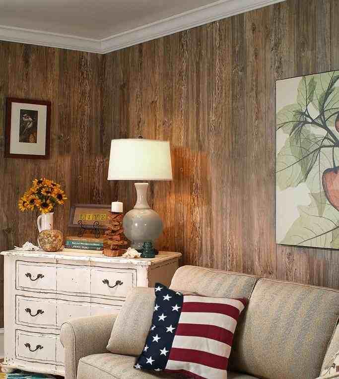 Weathered Cedar Paneling Corner Perspective Flag Pillow 1
