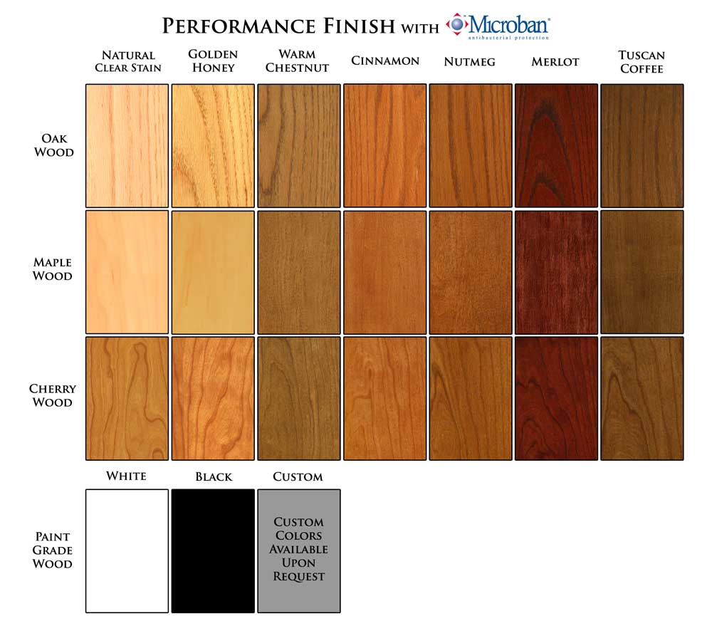 Wood Finish Color Chart for New England Classic