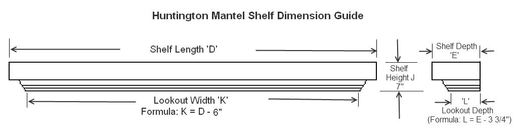 Mantel Shelf Dimension Chart | Huntington