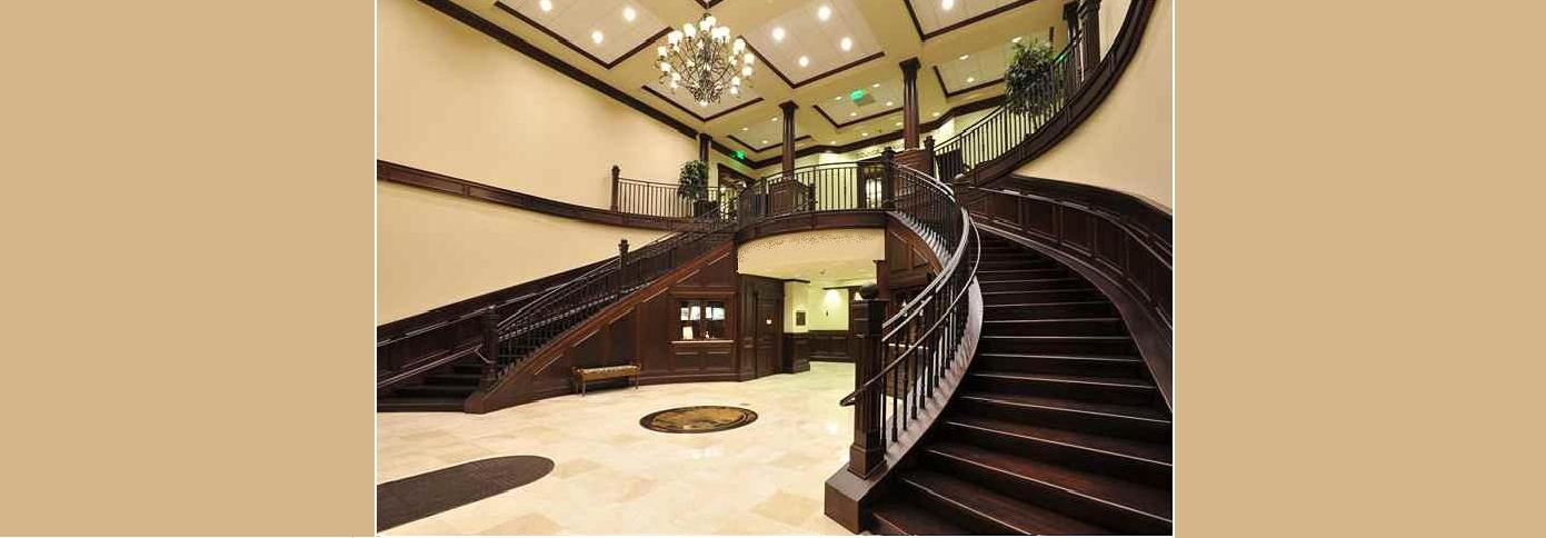 Tapered Interior Columns | Stained | Staircase